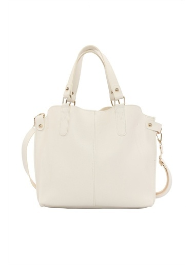 Bagmori Kadın Üç Bölmeli Çıtçıt Detaylı Çanta M000002918 Beyaz